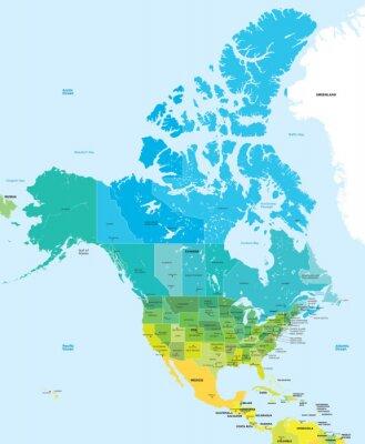 Quadro Mapa de cor de EUA e Canadá