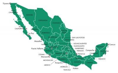 Quadro Mapa de México com estados e municípios