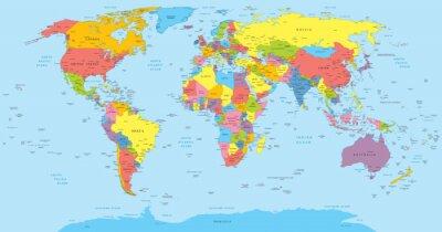 Quadro Mapa de mundo com os países, país e nomes de cidades