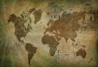 Quadro mapa de viagem mundo antigo