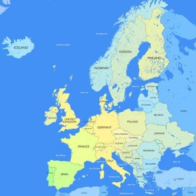 Quadro Mapa detalhado da Europa