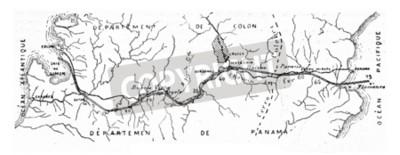 Quadro Mapa do canal de Panamá, ilustração gravada vintage. Enciclopédia Industrial E.-O. Lami - 1875.