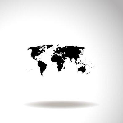 Quadro Mapa do ícone do vetor do mundo.