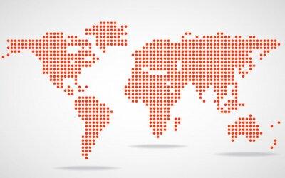 Quadro Mapa do mundo abstrato de pontos redondos. Ilustração do vetor. Eps 10