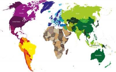 Quadro mapa do mundo colorido por continentes