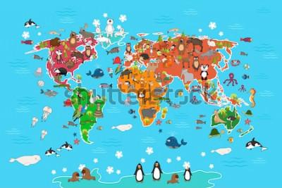 Quadro Mapa do mundo com animais. Macaco e ouriço, urso e canguru, lebre panda panda e pinguim e papagaio. Animais mundo mapa ilustração vetorial no estilo cartoon