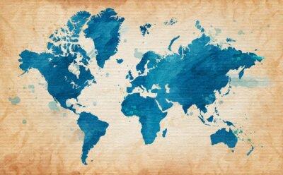 Quadro mapa do mundo com um fundo texturizado e manchas aquarela