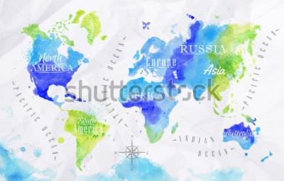 Quadro Mapa do mundo da aguarela em cores verdes em um fundo de papel amassado