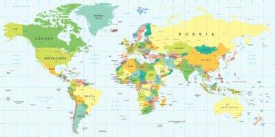 Quadro Mapa do mundo - ilustração altamente detalhada do vetor.