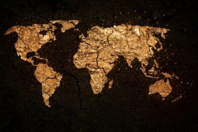 Quadro Mapa do mundo no fundo do grunge