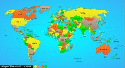 Quadro Mapa do mundo político