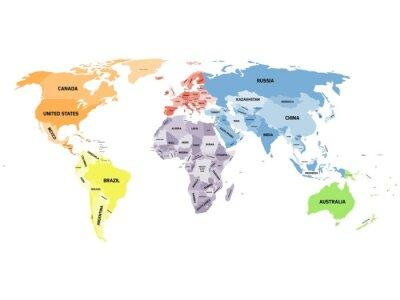 Quadro Mapa do mundo político no fundo branco.