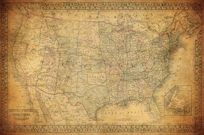 Quadro Mapa do vintage de Estados Unidos 1867