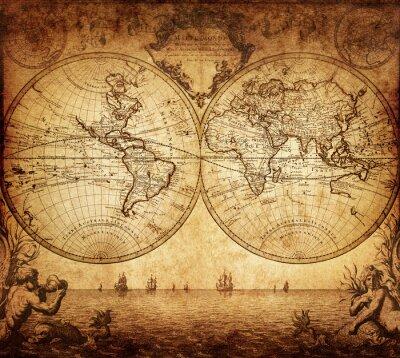 Quadro mapa do vintage do mundo 1733