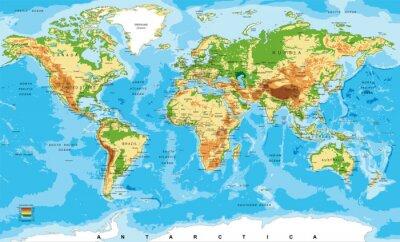 Quadro Mapa físico do mundo