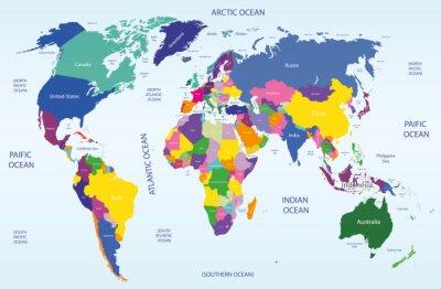 Quadro mapa geográfico e político mundial