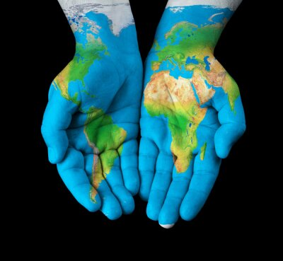 Quadro Mapa pintado em mãos mostrando conceito - o mundo em nossas mãos