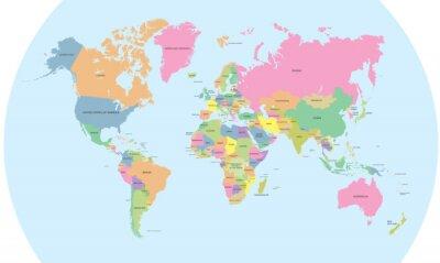 Quadro Mapa político Coloured do vetor do mundo
