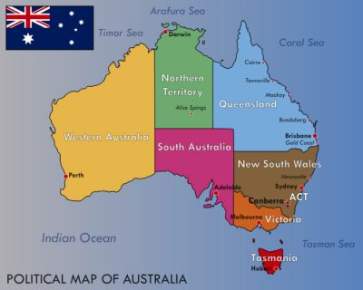 Quadro Mapa político da Austrália