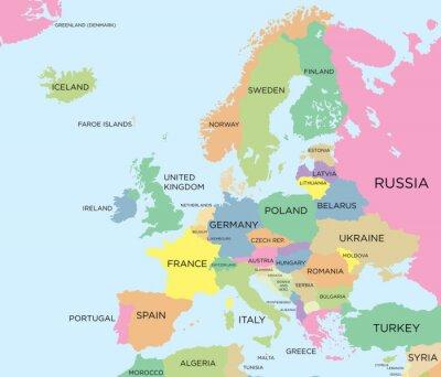 Quadro Mapa político da Europa Coloured