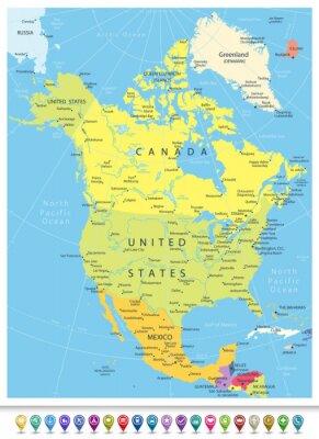 Quadro Mapa político detalhado de America do Norte com ícones da navegação