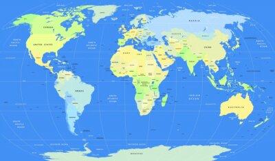 Quadro Mapa político detalhado do vetor do mundo