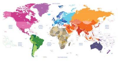 Quadro mapa político do mundo colorido por continentes