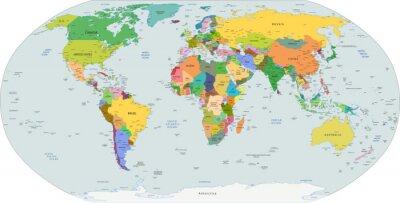 Quadro Mapa político global do mundo, vetor
