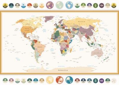 Quadro Mapa Político Mundial, com ícones lisos e cores globes.Vintage.