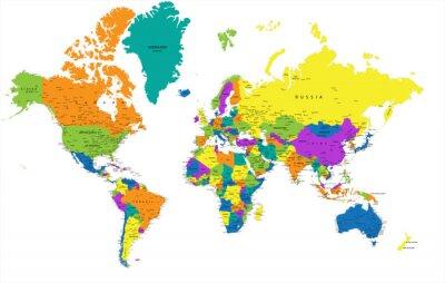 Quadro Mapa político Mundo colorido com claramente marcadas, as camadas separadas. Ilustração do vetor.