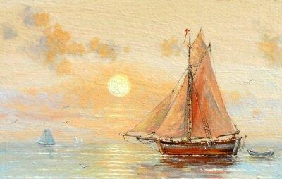 Quadro Mar, barcos, pescador, pinturas a óleo