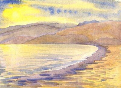 Quadro Mar e montanhas. Paisagem. Pintura da aguarela