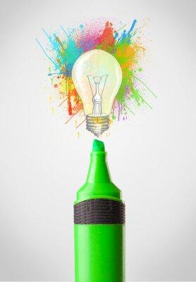Quadro Marcador de close-up com respingos de tinta coloridas e lâmpada