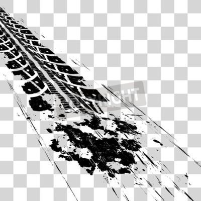 Quadro Marcas de pneus. Ilustração vetorial onon xadrez de fundo