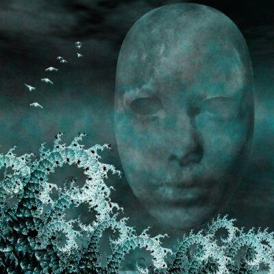 Quadro Máscara Surreal e fractais como ondas do mar