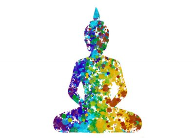 Quadro Meditating Buddha posture in rainbow colors