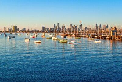 Quadro Melbourne skyline de St Kilda ao pôr do sol (Victoria, Austrália)