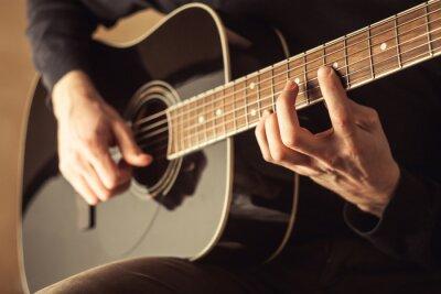 Quadro Men, tocando, guitarra, close-up, tiro