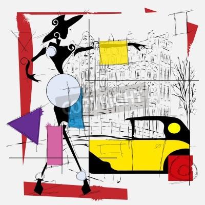 Quadro Menina da forma do cubismo ilustração moderno