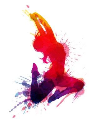 Quadro Menina de dança com salpicos sujo