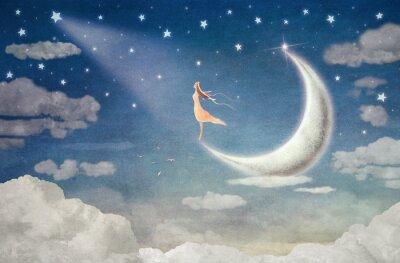 Quadro Menina, lua, admira, noturna, céu - Ilustração, arte