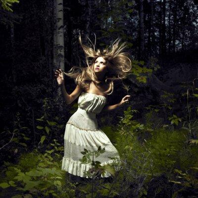 Quadro Menina na floresta feericamente