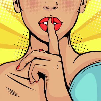 Quadro Menina secreta do silêncio. Linda mulher colocou o dedo nos lábios, pedindo silêncio. Fundo colorido do vetor no estilo cômico retro do pop art.