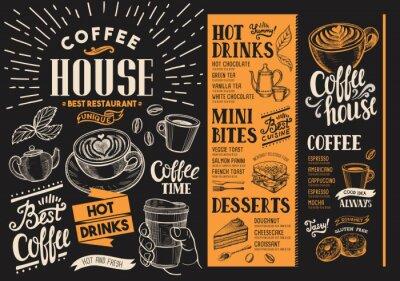 Quadro Menu de restaurante de café. Folheto de bebida para bar e café. Modelo de design com ilustrações de comida desenhados à mão vintage.