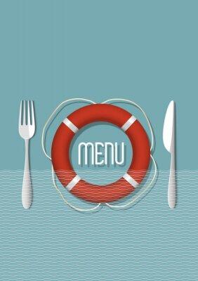 Quadro Menu design retro para o restaurante de frutos do mar - variação 5