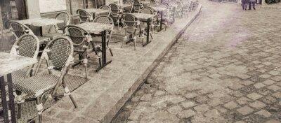 Quadro Mesas de restaurante ao ar livre em Paris, vista vintage