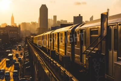 Quadro Metrô, trem, novo, york, pôr do sol
