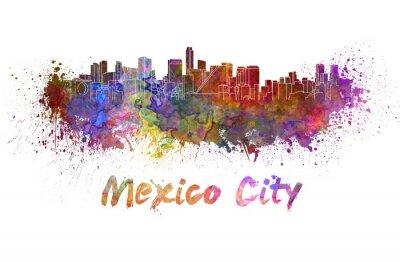 Quadro Mexico City skyline in watercolor