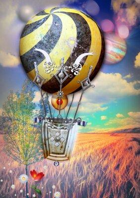 Quadro Milho fied e árvore com steampunk balão de ar quente