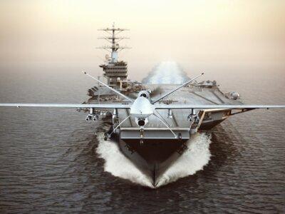Quadro Militar, drone, aeronave, lançamento, avião, portador, greve, missão 3d rendering